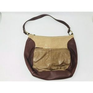 The Sak Brown Two Toned Leather Shoulder Purse